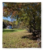 Cades Cove House And Fall Colors Fleece Blanket