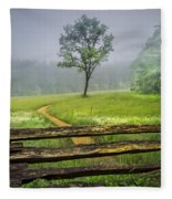 Cades Cove Misty Tree Fleece Blanket