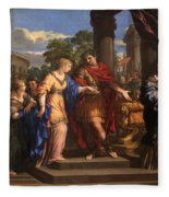 Caesar Giving Cleopatra The Throne Of Egypt, C.1637 Oil On Canvas Fleece Blanket