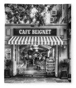 Cafe Beignet Morning Nola - Bw Fleece Blanket