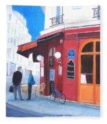 Cafe Des Musees Paris Fleece Blanket