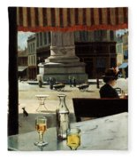 Cafe In A City Square Fleece Blanket