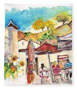 Cafe In Barca De Alva Fleece Blanket