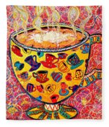 Cafe Latte - Coffee Cup With Colorful Coffee Cups Some Pink And Bubbles  Fleece Blanket