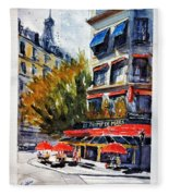 Cafe Le Champ De Mars Fleece Blanket