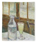 Cafe Table With Absinth Fleece Blanket