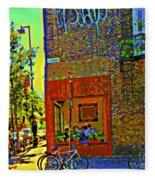 Cafe Window Corner Rue Fabre Near The Bicycle Stand Art Of Montreal Summer Street Scene  Fleece Blanket