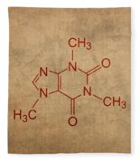 Caffeine Molecule Coffee Fanatic Humor Art Poster Fleece Blanket
