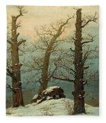Cairn In Snow Fleece Blanket