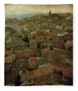 Calahorra Roofs From The Bell Tower Of Saint Andrew Church Fleece Blanket