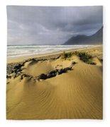 Caleta De Famara Beach On Lanzarote Fleece Blanket