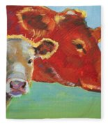 Calf And Cow Painting Fleece Blanket