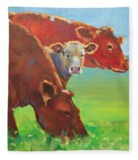Calf And Cows Painting Fleece Blanket