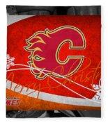 Calgary Flames Christmas Fleece Blanket