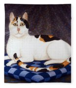 Calico Cat Portrait Fleece Blanket