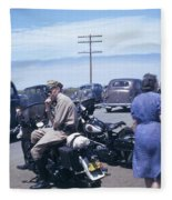 California Highway Patrol Harley Davidson Circa 1948 Fleece Blanket