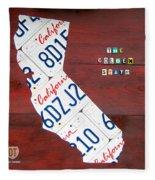 California License Plate Map Fleece Blanket