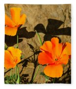California Poppies - Crisp Shadows From The Desert Sun  Fleece Blanket