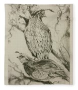 California Quails Lithograph Fleece Blanket