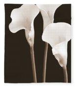 Calla Lilies In Triplicate In Sepia Fleece Blanket