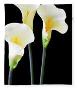 Calla Lilies In Triplicate Fleece Blanket