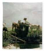 Calves At A Pond, 1863 Fleece Blanket