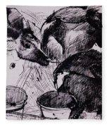 Calves, Damp, Newborn, 1978 Pen & Ink On Paper Fleece Blanket