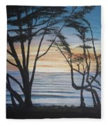 Cambria Cypress Trees At Sunset Fleece Blanket