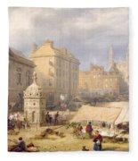 Cambridge Market Place, 1841 Fleece Blanket