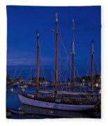 Camden Harbor Maine At 4am Fleece Blanket