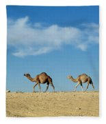 Camel Train Fleece Blanket