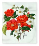 Camellia Adolf Audusson Fleece Blanket