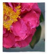 Camellia With Bee Fleece Blanket