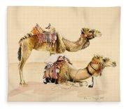 Camels From Petra Fleece Blanket