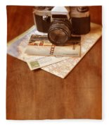 Camera Map And Postcards Fleece Blanket