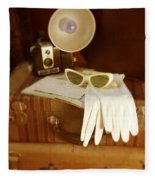 Camera Sunglasses On Luggage Fleece Blanket
