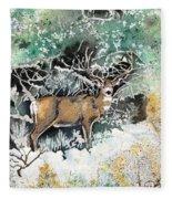 Camouflaged Mule Deer Buck In Winter Fleece Blanket
