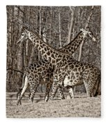 Camouflaged X Sepia Fleece Blanket