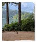 Camp By The Lake Fleece Blanket
