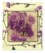 Campanula Framed With Pressed Petals Fleece Blanket