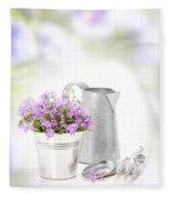 Campanula Flowers Fleece Blanket by Amanda Elwell