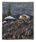 Camping On The Moon Fleece Blanket