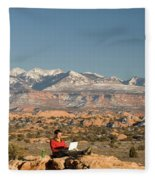 Camping With Laptop Fleece Blanket