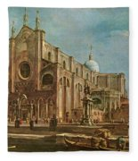 Campo Dei Santi Giovanni E Paolo And The Scuola Grande Di San Marco, Venice Oil On Canvas Fleece Blanket