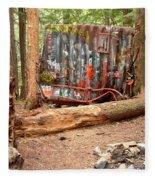 Campsite Near A Train Wreck Fleece Blanket