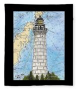 Cana Island Lighthouse Wi Nautical Chart Map Art Fleece Blanket