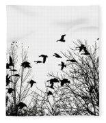 Canada Geese Flight Silhouette Fleece Blanket