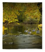 Canada Geese In Autumn Swimming On The Thornapple River Fleece Blanket