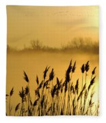 Canada Geese In Flight At Sunrise Fleece Blanket