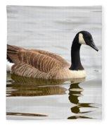 Canada Goose Reflecting In Calm Waters Fleece Blanket